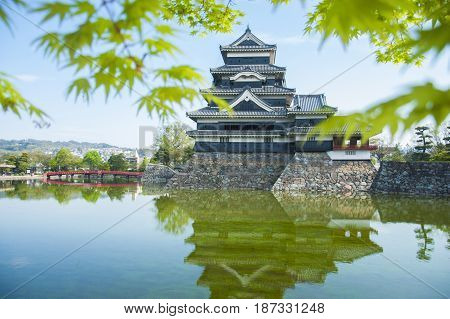 Matsumoto Castle Reflection On Water In Japan