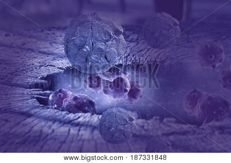 Digital illustration of cancer cells in human body