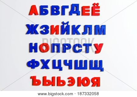 The Russian alphabet Cyrillic alphabet is made of plastic letters with a magnet.