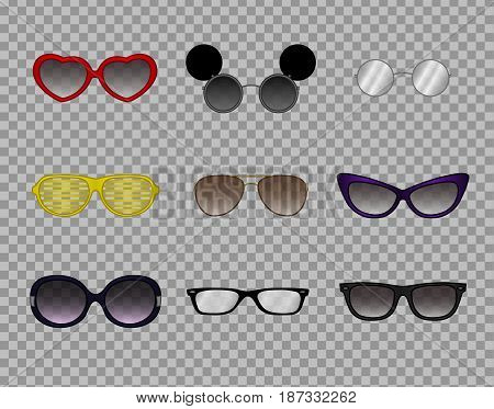 A collection of trendy glasses, stylish modern eyewear, optics, sunglasses. Personal accessories and style attributes.