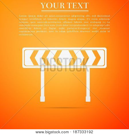 Traffic sign road. Road block sign. Safety barricade symbol flat icon on orange background. Vector Illustration