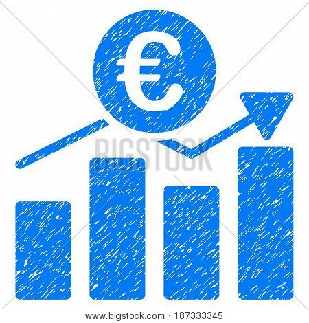 Grunge Euro Business Chart icon with grunge design and unclean texture. Unclean vector blue pictogram for rubber seal stamp imitations and watermarks. Draft emblem symbol.