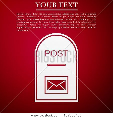 Mail box icon. Post box flat icon on red background. Vector Illustration