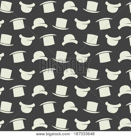 Vector gentleman pattern with bowler hat. Cartoon style illustration texture. Wallpaper. Wrapping paper. Scrapbook. Tiling. Hipster pattern. Gray background