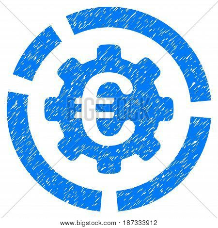 Grunge Euro Diagram Configuration icon with grunge design and dust texture. Unclean vector blue pictogram for rubber seal stamp imitations and watermarks. Draft sticker symbol.