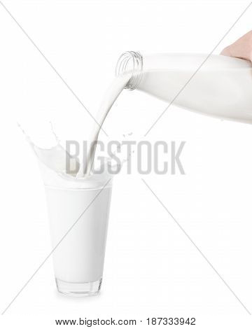 milk from bottle pouring into glass isolated on white background. Splashes of milk from the glass. Pouring milk