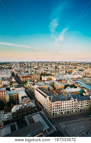 Riga, Latvia - July 2, 2016:  Riga Cityscape. Top View Of Crossroads Of Freedom Street And Dzirnavu Street In Sunny Summer Evening.
