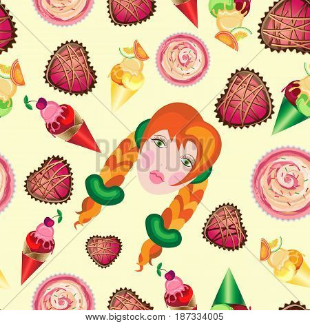 Vector seamless holiday pattern for International Children's Day. Portrait of a red-haired girl with sweets around.