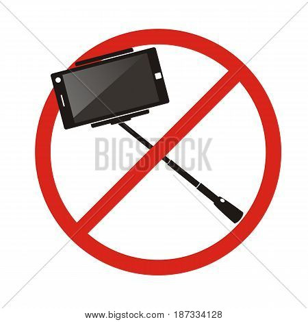 No selfie sticks. Do not use monopod selfie prohibited sign. Vector illustration