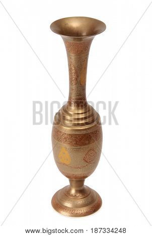Ancient copper indian vase on a white background
