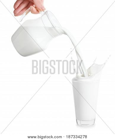 milk from jug pouring into glass isolated on white background. Splashes of milk from the glass. Pouring milk