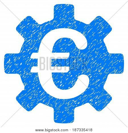 Grunge Euro Machinery Gear icon with grunge design and dust texture. Unclean vector blue pictogram for rubber seal stamp imitations and watermarks. Draft sticker symbol.