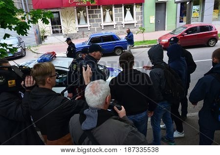 Kharkov, Ukraine - May 17, 2017: Blocking Of Exit To Police Cars By Kharkiv Right-wing Activists Dur
