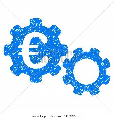 Grunge Euro Mechanics icon with grunge design and unclean texture. Unclean vector blue pictogram for rubber seal stamp imitations and watermarks. Draft emblem symbol.