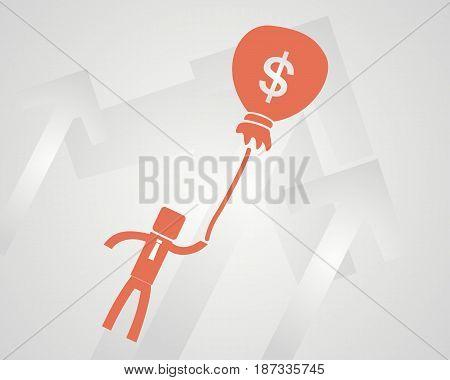 Business success concept. businessman flies on a bag with money. vector