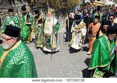 CORFU GREECE - APRIL 30 2016: The procession with the relics of the patron saint of Corfu Saint Spyridon. Epitaph and litany of St. Spyridon.