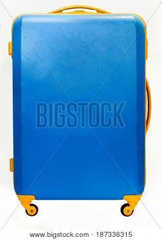 Large vibrant blue with orange polycarbonate plastic suitcase or travel bag isolated on white background