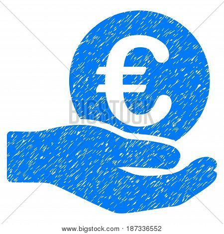 Grunge Euro Salary icon with grunge design and dust texture. Unclean vector blue pictogram for rubber seal stamp imitations and watermarks. Draft emblem symbol.