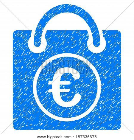Grunge Euro Shopping Bag icon with grunge design and dust texture. Unclean vector blue pictogram for rubber seal stamp imitations and watermarks. Draft sign symbol.