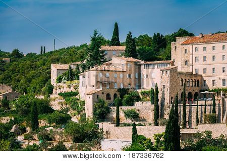 Beautiful view of medieval hilltop village of Gordes in Provence, France