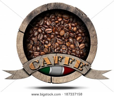 Wooden symbol of Italian coffee (Caffè Italiano) with italian flag and roasted coffee beans inside and text Caffè