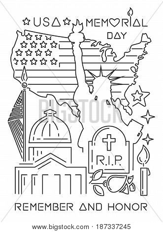 Memorial Day design concept. Set of linear icons for the United States Memory Day. Vector illustration