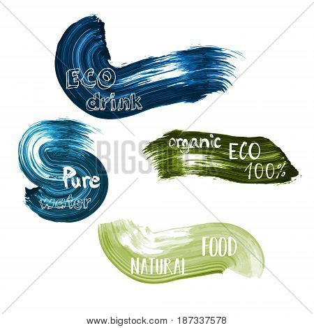 Eco food green and blue lables. Vector illustration collection with text lettering typography pure, organic, drink, bio, natural, water for goods design