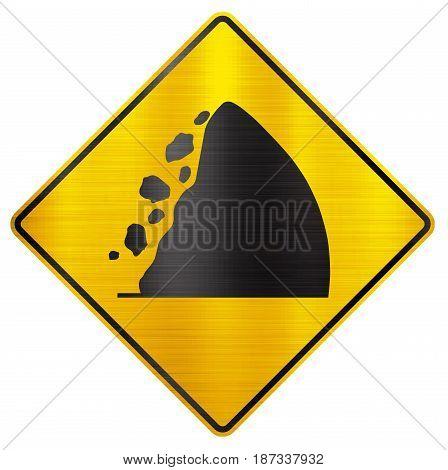 fallen rocks sign traffic  danger  yellow   transportation