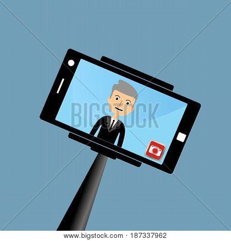 old businessman making a selfie. vector illustration