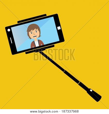 man making selfie with a selfie-stick. Smiling man making selfie with cellphone. Young man taking selfie. Vector flat design illustration.
