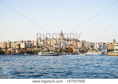 Istanbul, Turkey - September 25, 2014: Cityscape with Galata Tower over the Golden Horn in Istanbul.