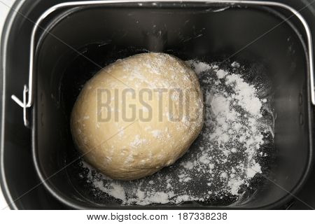 Prepared dough in bread maker