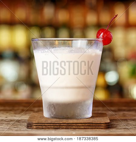 White Russian with vodka - alcoholic milkshake with cream vodka and coffee liqueur