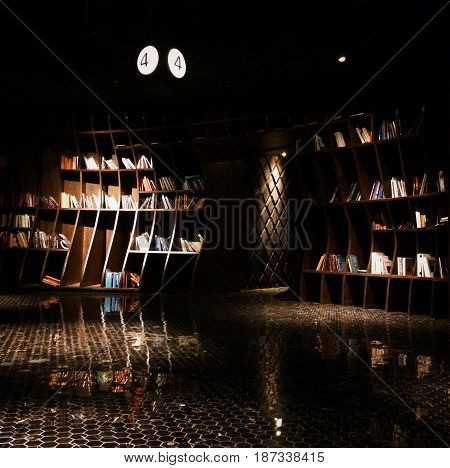Cinema and books. Dark photo. Abstract art.