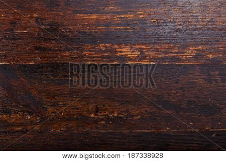 Darck brown wooden background shabby wooden background. Natural wooden texture horizontal photo