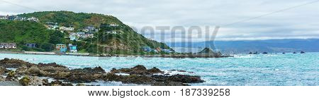 Panoramic image of Taputeranga Marine Reserve is located on Wellington 's South coast covering Island Bay Owhiro Bay and Houghton Bay Wellington North Island of New Zealand