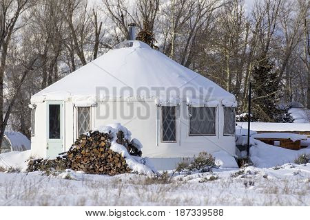 Yurt Tiny House In Town Of Kelly In Jackson Hole Wyoming During Winter Time