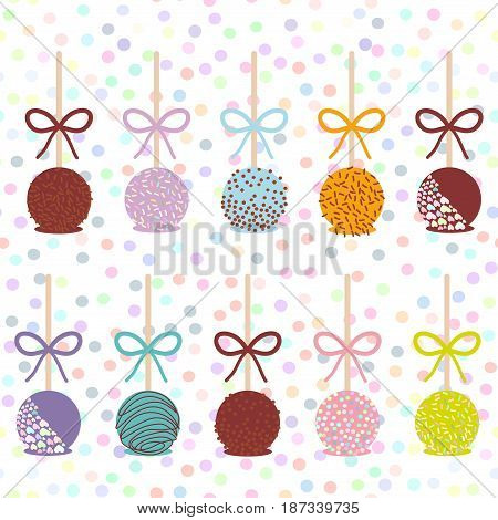 Colorful Sweet Cake pops set with bow isolated on white abstract geometric retro polka dot background. Vector illustration