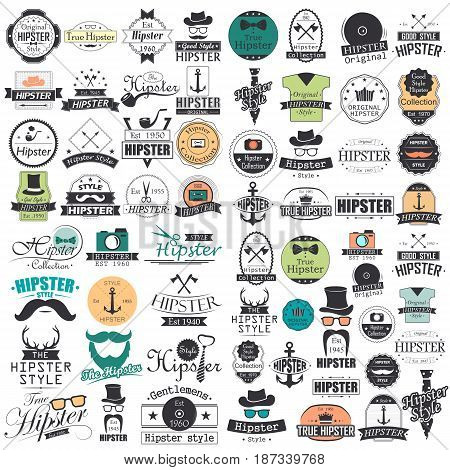 vector illustration of Hipster Style infographics elements and icons set