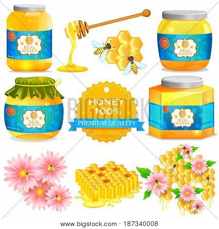 vector illustration of pure Honey in bottle and jar with honeycomb