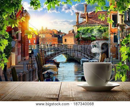 Morning coffee break in Venice at summer, Italy