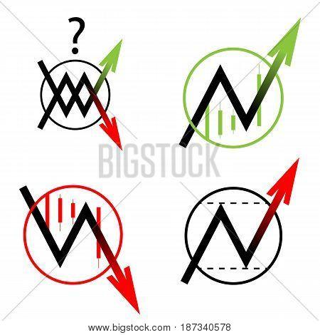 set a round icon arrow on white background