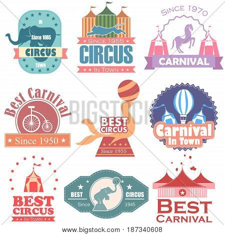 vector illustration of Circus and Carnival label tag sticker for Advertisement