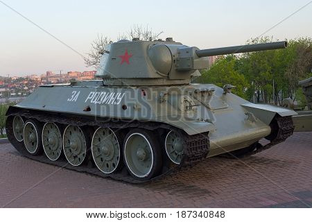 Donetsk Ukraine - April 29 2-17: T-34 tank in the exposition of the museum of the Second World War. Onboard the inscription