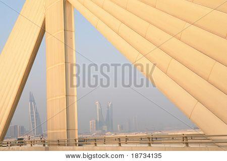 Manama scene from Shaikh Isa bin Salman bridge that connects Manama and Muharraq