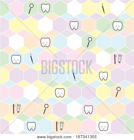 Tooth vector background, light colorful color. Dental health and oral hygiene.
