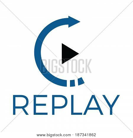 Replay audio and video vector logo design. Music and entertainment logo.