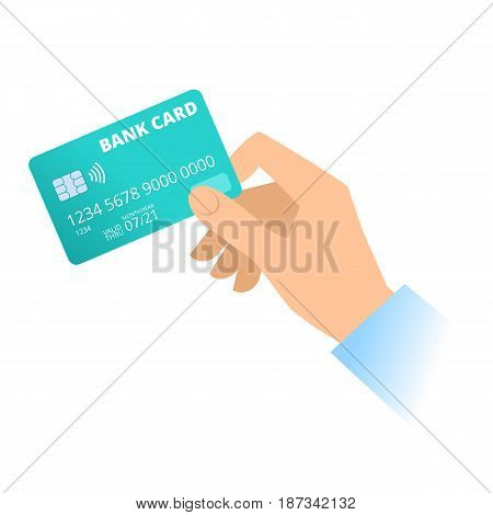 A human hand holds a bank plastic credit card. Technology online banking shopping and payment flat concept illustration. Vector material design element isolated on white background.