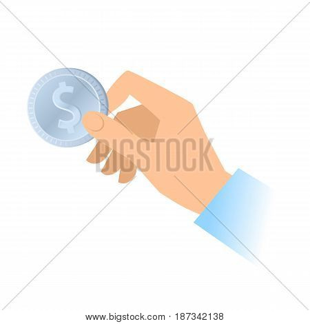 A human hand holds a silver dollar coin. Money banking cash currency flat concept illustration. Vector material design element for web social networks isolated on white background.