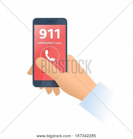 A hand dials 911 number on the phone. Emergency calling technology smart phone 911 support and first aid service flat concept illustration. Vector design element isolated on white background.